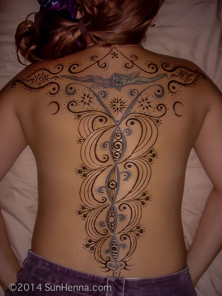 Henna Tattoo Full Back: Laila: Expand Full Back Tattoo
